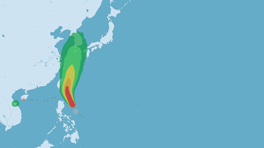 圖/中央氣象局 「玲玲」颱風明晚雨炸東部!不排除發海警 下雨熱區看這