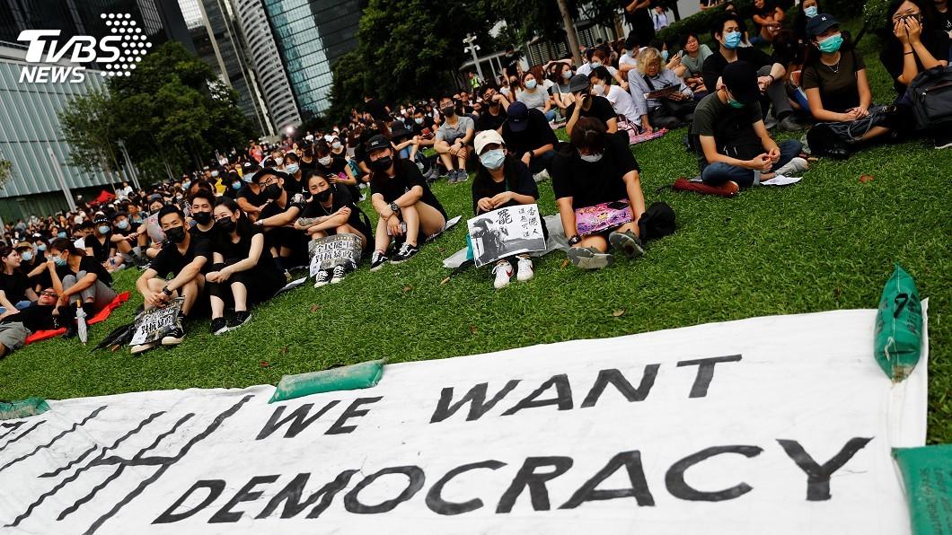 圖/達志影像路透社 香港三罷集會4萬人出席 特首辦外一度警民衝突