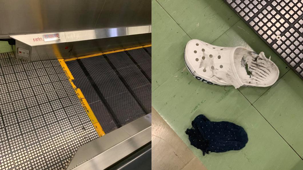 圖/翻攝自Jump Dhanapat臉書 穿膠鞋搭手扶梯「遭吸入」 他目睹嚇壞:腳差點被絞爛