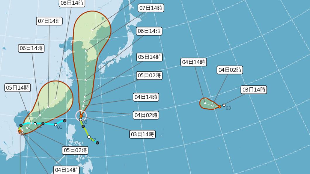 圖/中央氣象局 今晚變天!「這張圖」看雙颱動向 還有2熱帶系統發展中