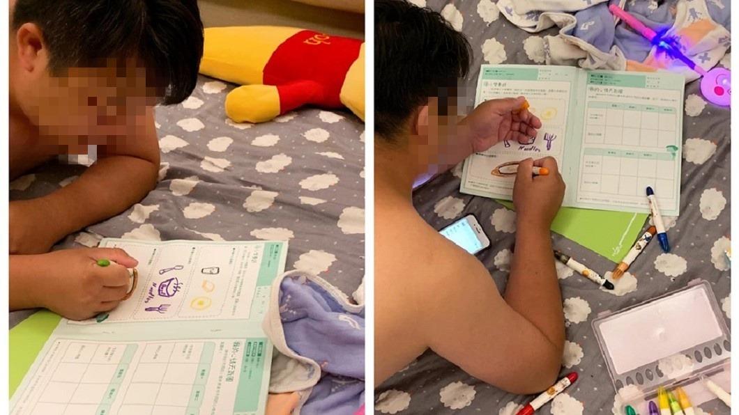 原PO老公神情專注地寫作業。圖/翻攝自爆怨公社臉書