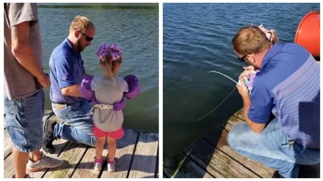 美國1名4歲女童,日前化身天才小釣手。(圖/翻攝自YouTube) 天才小釣手?4歲女童拿玩具釣竿 釣起15公斤大鯰魚