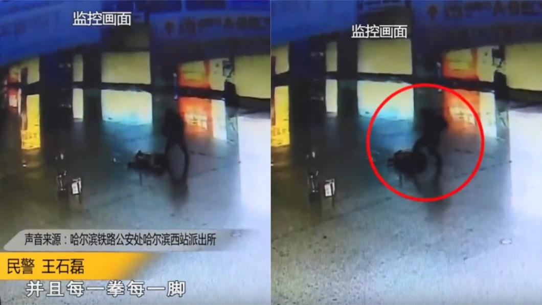 女孩遭陌生男子出拳爆打。圖/翻攝自新聞夜航