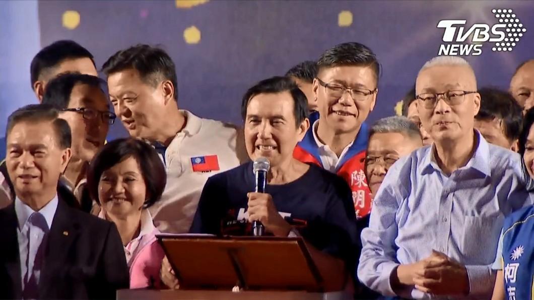 前總統馬英九8日現身韓國瑜造勢。圖/TVBS