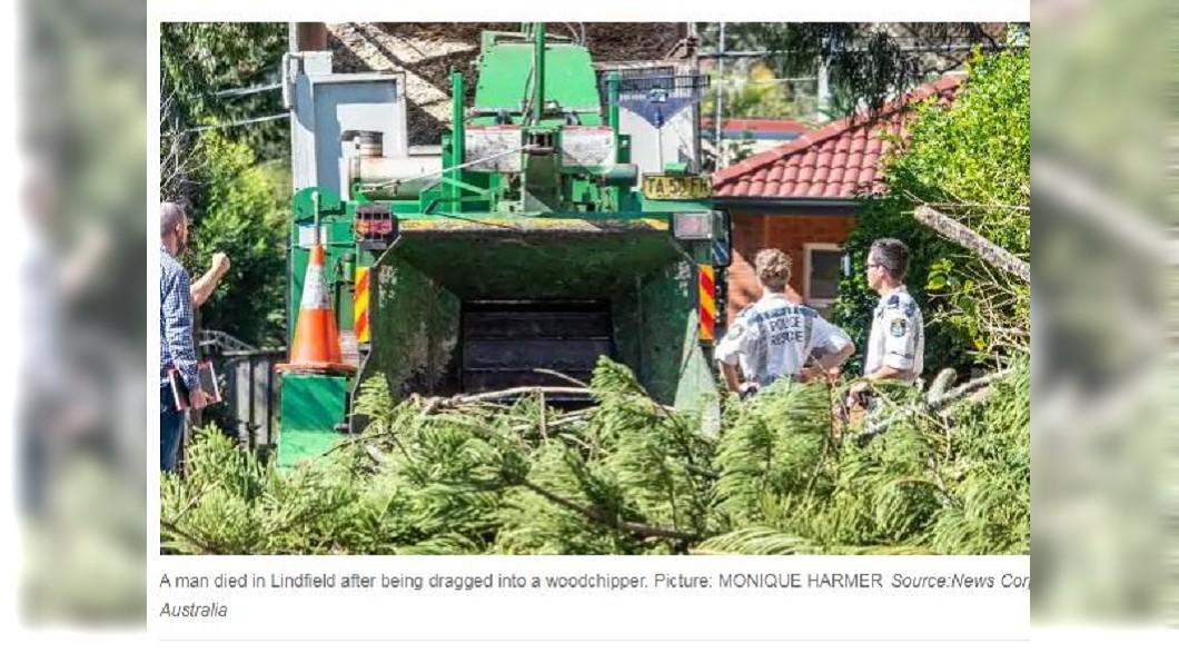 日前澳洲發生一起修樹工人不慎捲入碎木機的驚悚意外。(圖/翻攝自澳洲新聞網)