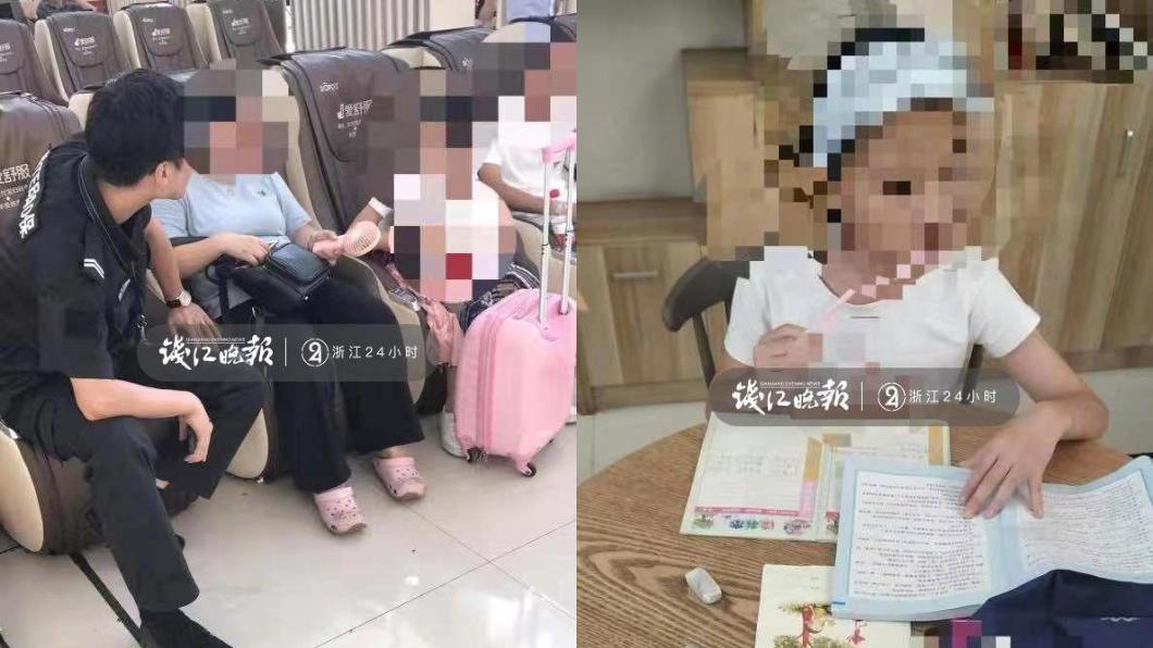 女童因為不寫作業而被母親丟在火車站。圖/翻攝自錢江晚報微博 不想寫作業!女童遭狠母「遺棄」火車站