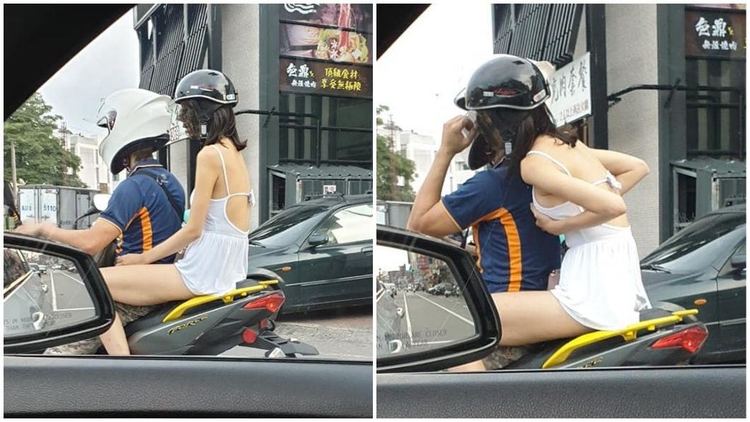 有網友捕捉到日前在路上開車時,看到引人遐想的一幕。(圖/翻攝自爆廢公社) 辣妹搭機車秀美背長腿 當眾「喬長輩」引遐想