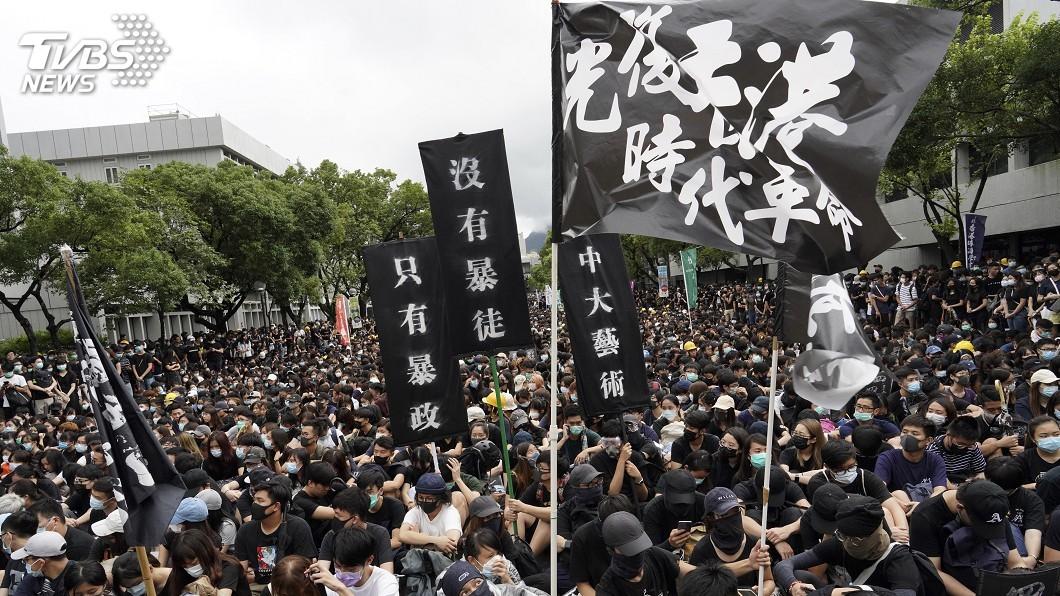 圖/達志影像美聯社 反送中示威被捕 台藝大港生獲准返台升學