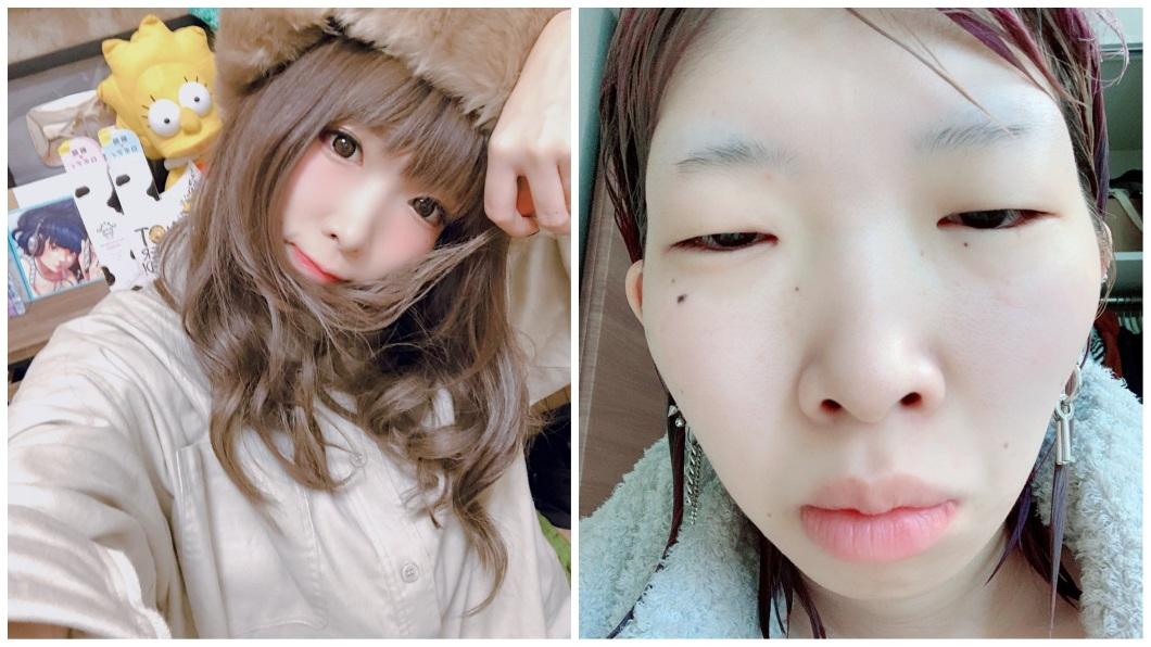 日本1名女YouTuber,靠著分享化妝技巧而擁有高人氣。(圖/翻攝自推特) 奇蹟的醜女!她靠神奇化妝術 驚人對比照吸百萬粉