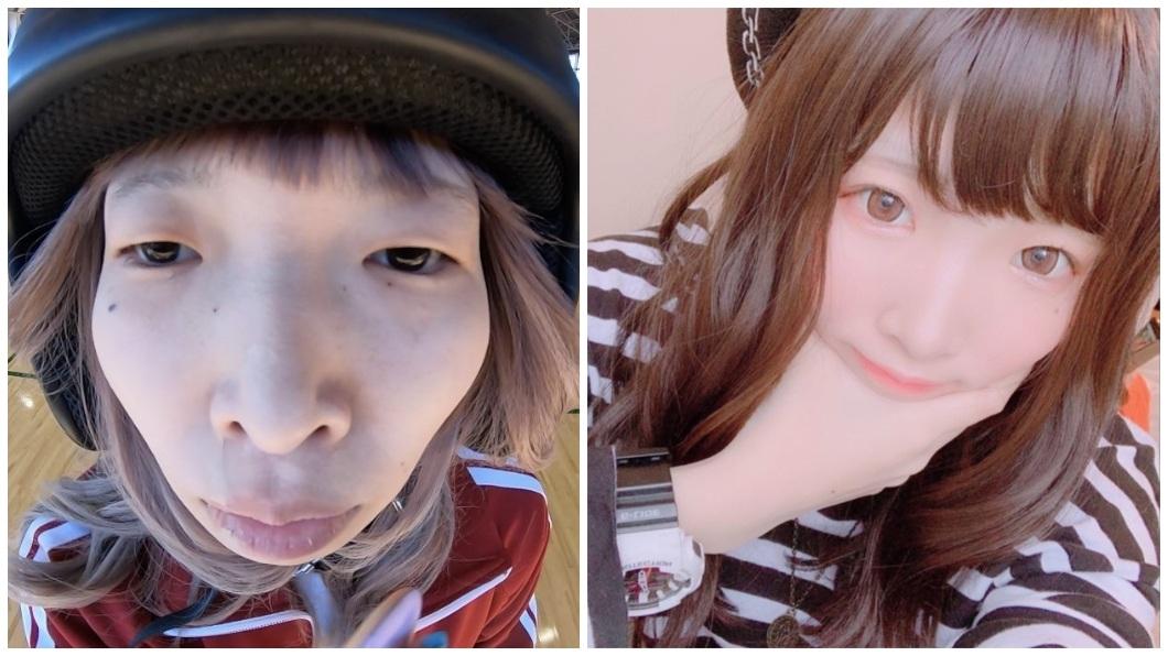 再看一次化妝前後的對比照,真的不得不佩服這技術太高超。(圖/翻攝自推特)
