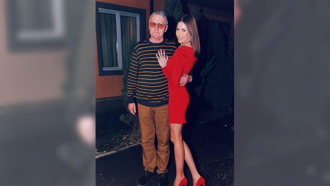 波丹諾薇琪與波西吉。圖/翻攝自Milijana Božić臉書 差53歲爺孫戀 翁被戴綠帽也要娶嫩妹