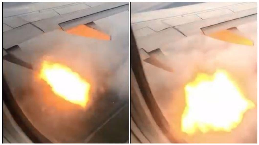 加拿大一架聯航班機在起飛後引擎起火,機上乘客紛紛拿出手機傳訊給家人交代遺言。(圖/翻攝自推特) 班機起飛鳥撞進引擎起火 乘客傳訊家人留遺言