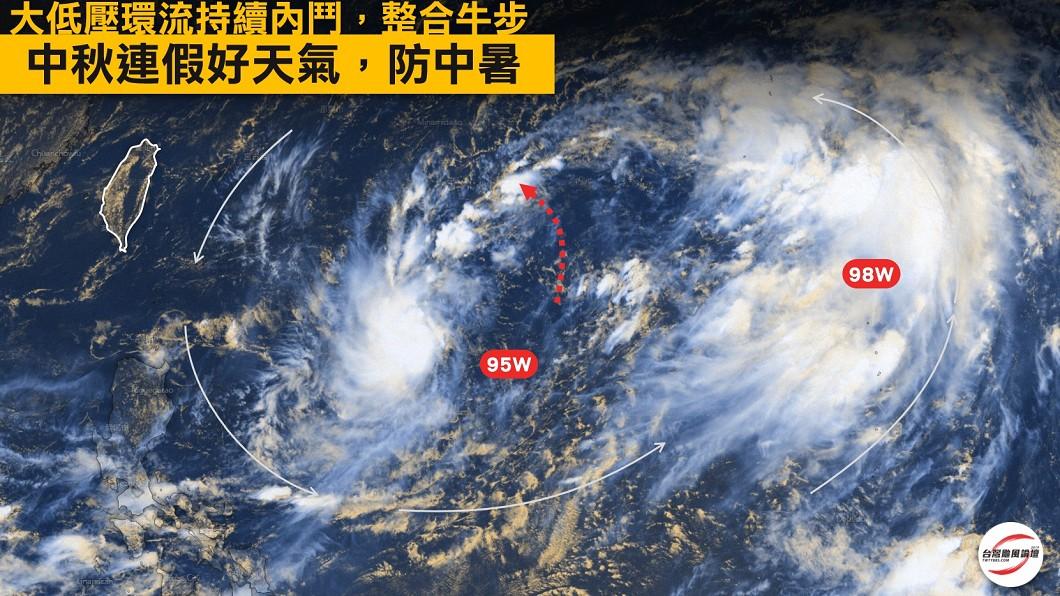 西北太平洋的大低壓環流目前還在多方角力中。圖/翻攝自台灣颱風論壇|天氣特急