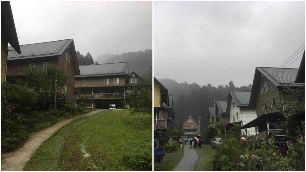 「台版合掌村」得恩亞納社區,斜頂式木屋群造型激似日本合掌村。合成圖/翻攝爆廢公社臉書