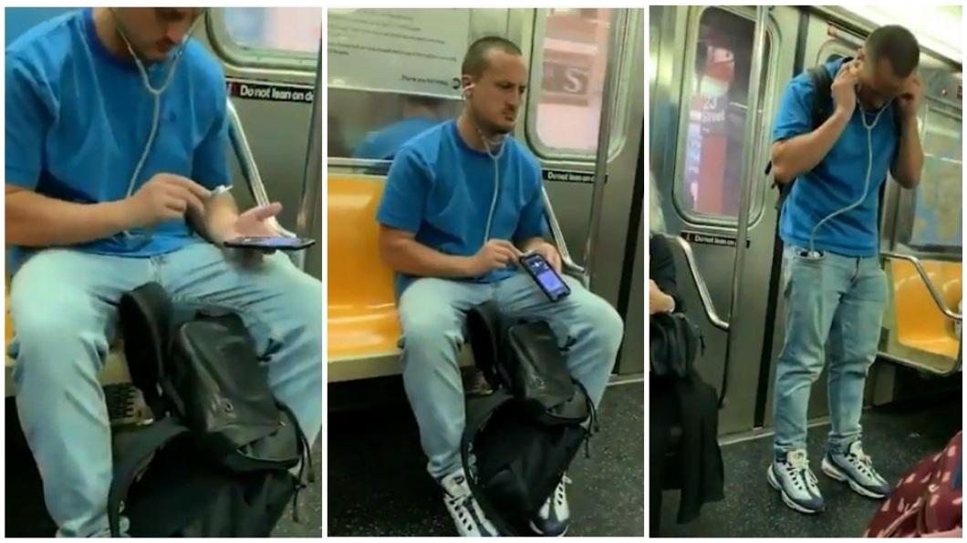 1名男子拿出聽診器放在手機音源地方,似乎想藉此聽音樂。(合成圖/翻攝自臉書粉絲團) 聽得到嗎?忘了帶耳機 他用聽診器聽音樂