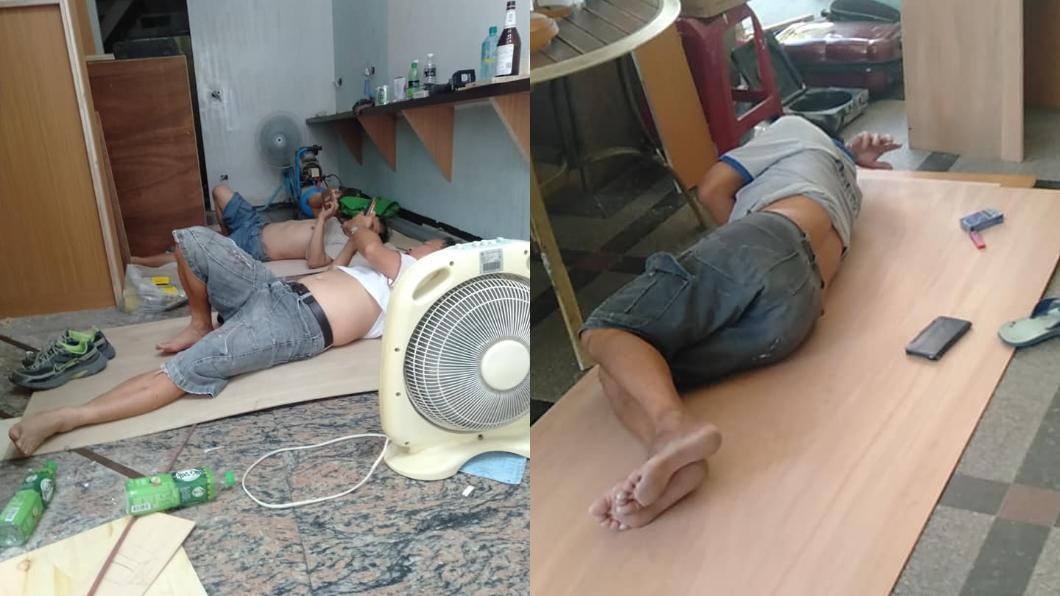 原PO看到畫面不禁感嘆。圖/翻攝自爆怨公社 工人躺地休息!他嘆「尊嚴被現實磨光」…掀網友兩面論戰