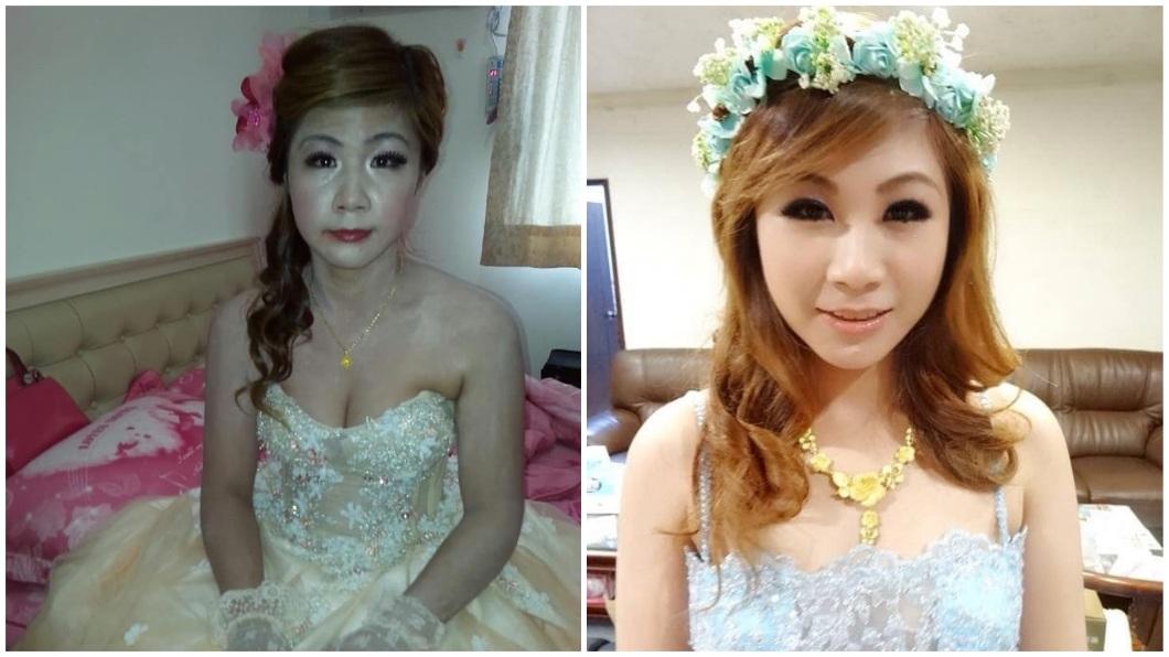 女網友結婚時請了另名新娘秘書,她把訂婚和結婚照做對比。(圖/翻攝自爆怨公社)