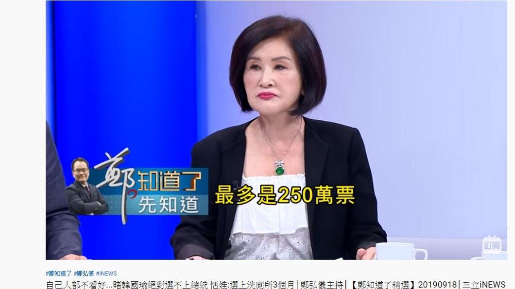 恬娃上三立政論節目,打賭韓國瑜拿不到250萬票。(圖/翻攝自YouTube)