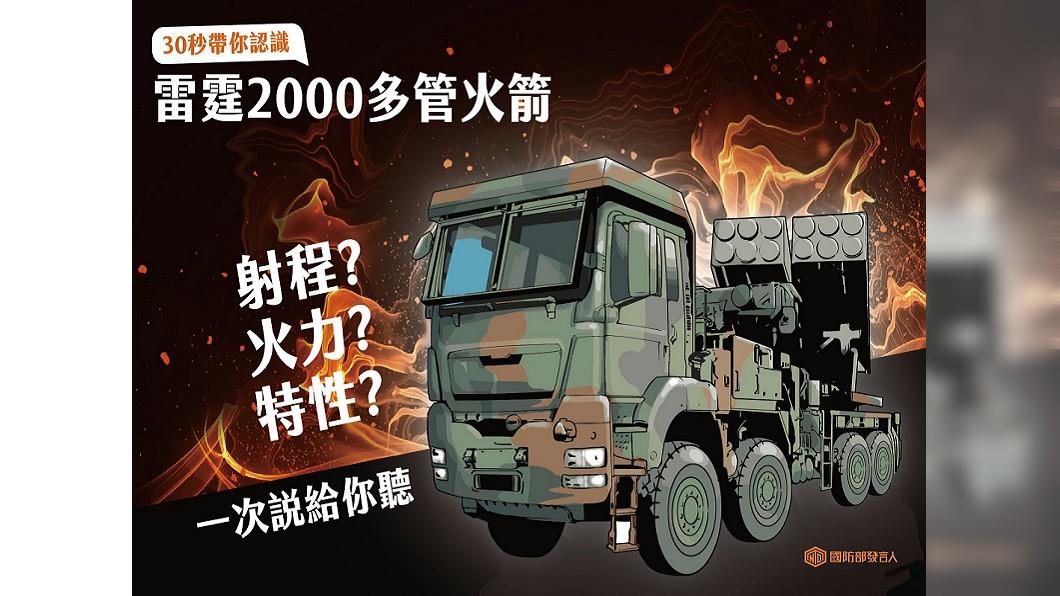 圖/翻攝自國防部發言人臉書 國造「雷霆2千多管火箭」 國防部圖表一次看懂