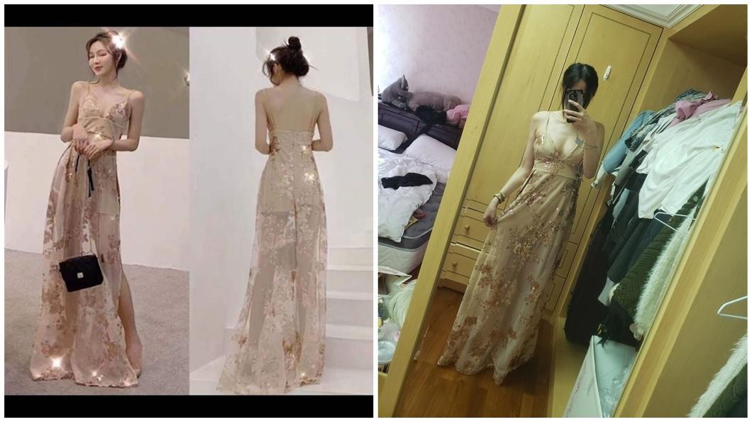 女網友在網路上看到一件細肩帶蕾絲洋裝下訂,衣服送達後進行試穿。(圖/翻攝自爆廢公社公開版) 閨密買細肩帶蕾絲洋裝 穿上竟變「超性感戰袍」