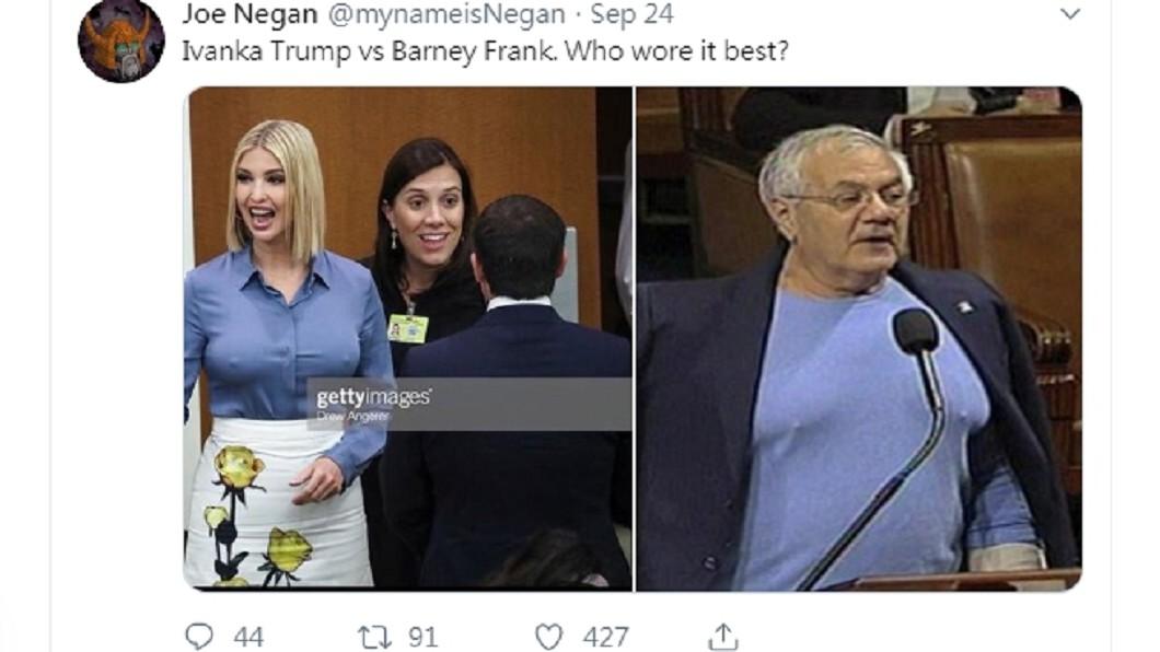 伊凡卡和法蘭克當年上衣顏色一模一樣 (圖/翻攝自推特) 曾批議員噁心 女兒激凸這次川普不罵了