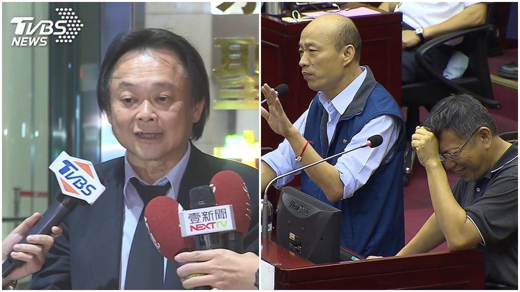 台北市議員王世堅(左圖)、高雄市長韓國瑜(右圖左)、台北市長柯文哲(右圖右)。圖/TVBS資料照 點出「關鍵原因」 王世堅轟柯文哲:你比韓國瑜還不如