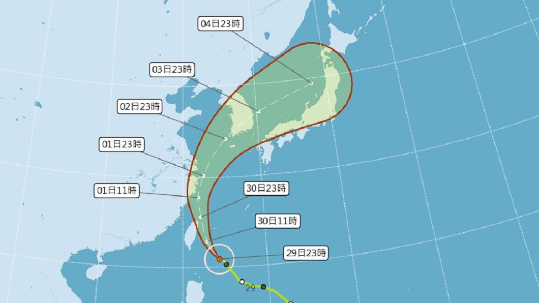 圖/中央氣象局 快訊/米塔增強為中颱 北部東部陸警警戒