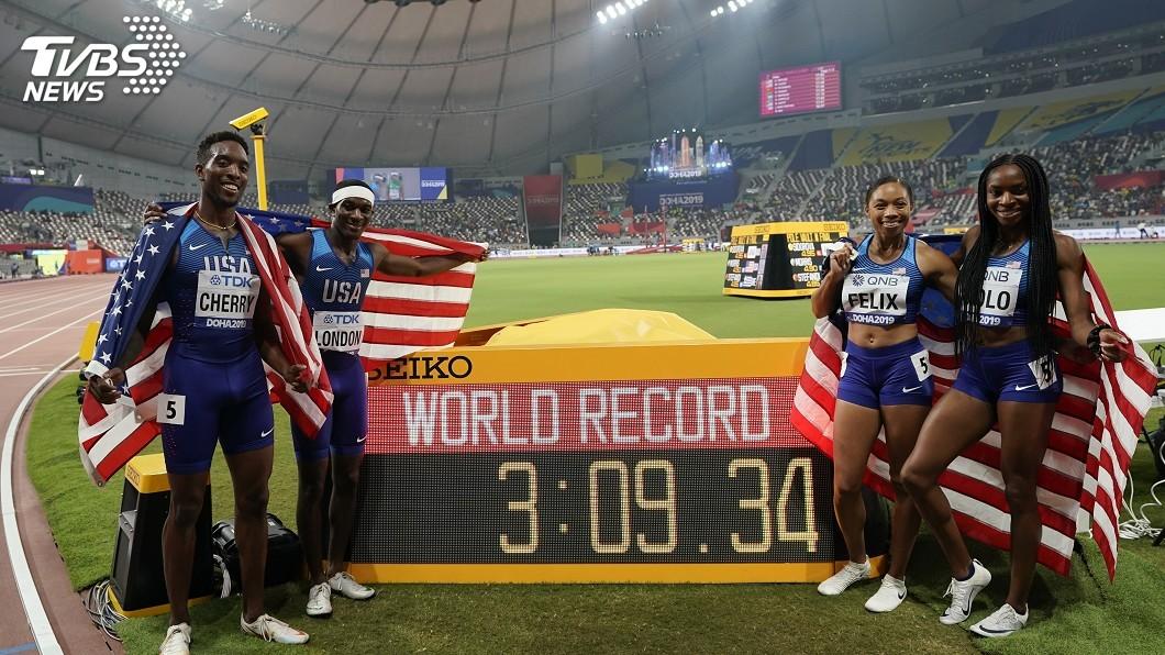 圖/達志影像美聯社 田徑世錦賽1600公尺混合接力決賽 美國隊奪金