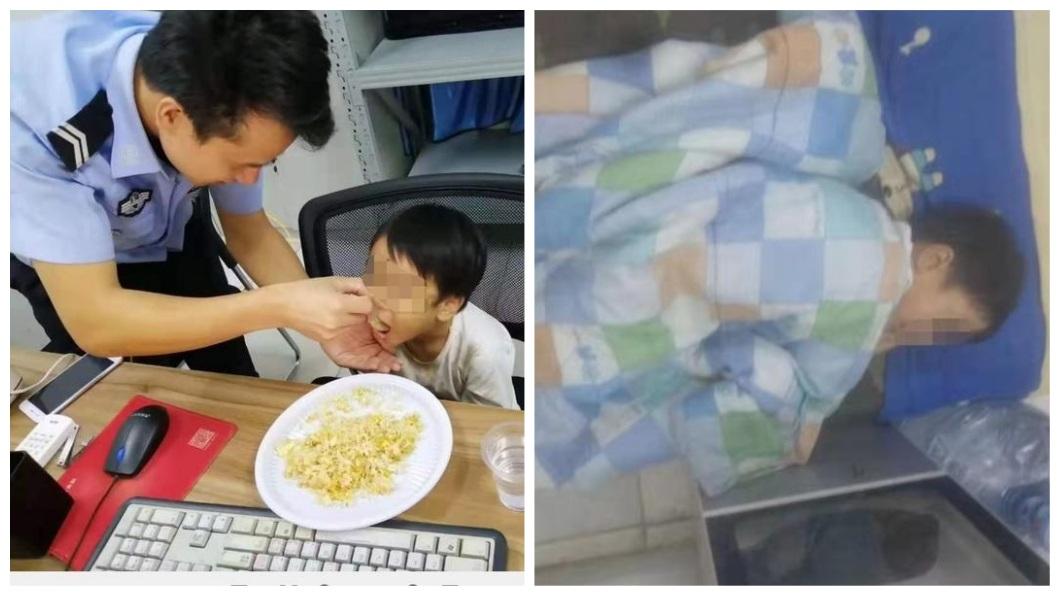 當地警察幫女童準備食物吃,還讓她睡在警局內。(圖/翻攝自陸網)