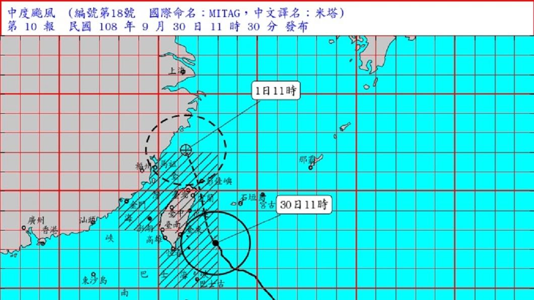 中央氣象局預報顯示,今天下午至明天清晨是米塔颱風最接近台灣的時候。(圖/翻攝自中央氣象局網站) 不排除登陸!米塔颱風影響最劇時間曝