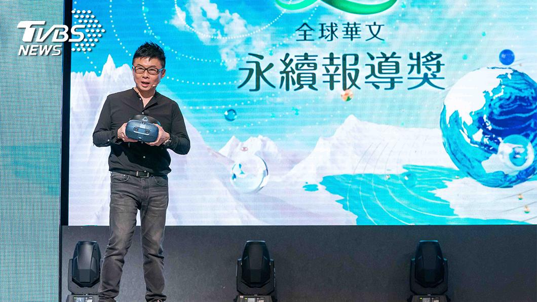 hTC VIVE ORIGIANLS 總經理劉思銘於頒獎典禮上,分享最新的VR技術與視聽體驗。(圖/TVBS) 5G來臨 國內新媒體關注報導結合VR應用