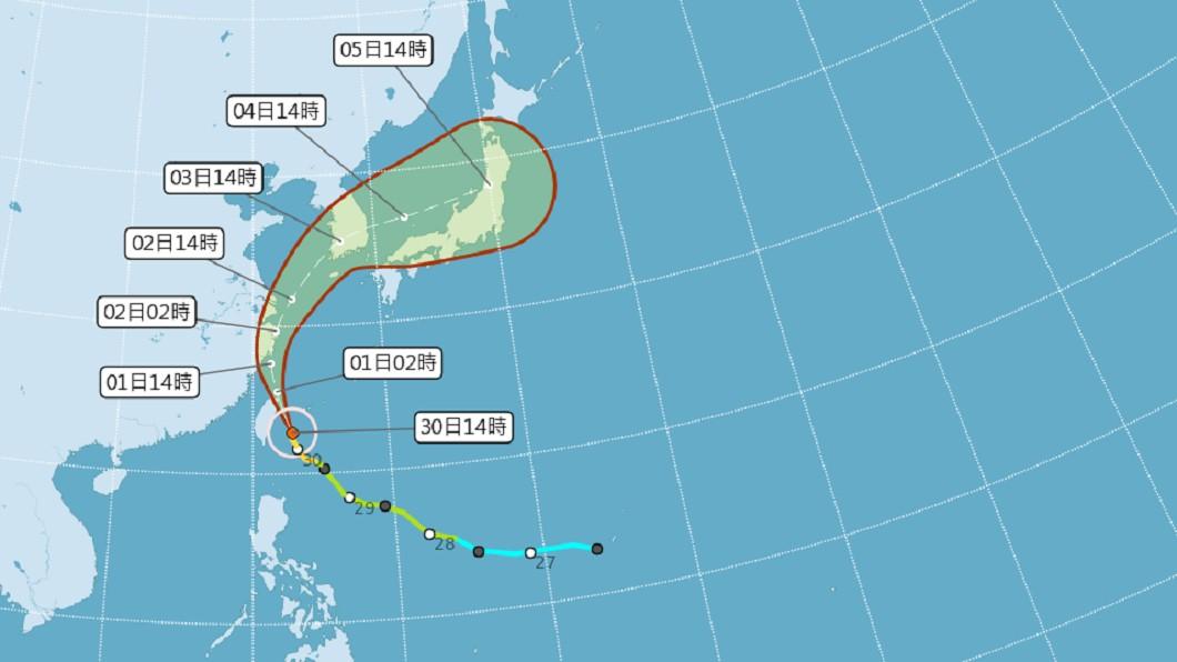 圖/中央氣象局 颱風米塔暴風圈進入花東 今晚至明天可能有焚風