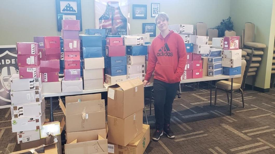 圖/翻攝自 Kylers Kicks臉書 感人 !14歲美國男孩 舊鞋子轉動世界
