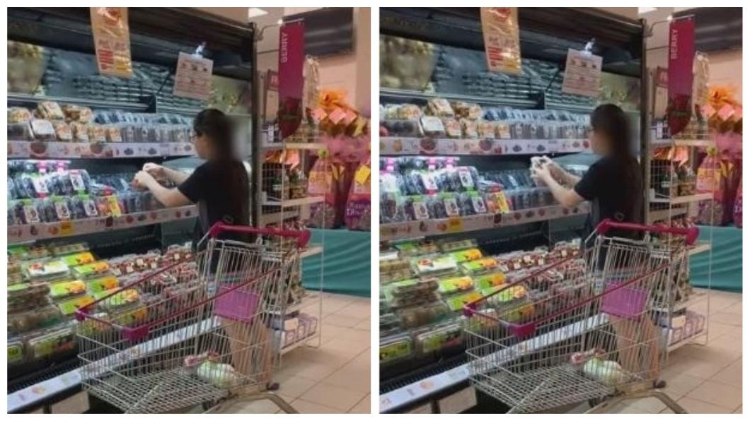 1名女子在挑草莓時做出令人傻眼的行為。(圖/翻攝自YouTube) 超市當菜市場!奧客連開5盒草莓 挑品質好的湊1盒