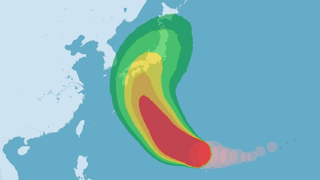 圖/中央氣象局 赴日注意!哈吉貝成今年最強颱 恐轉向直撲關東