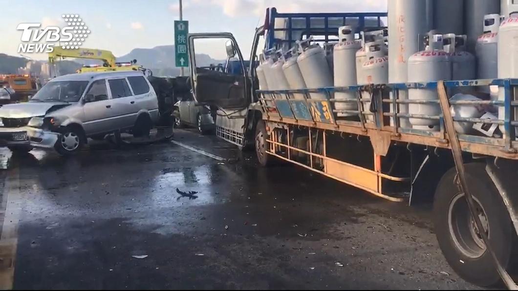 圖/TVBS 滿載瓦斯桶 7車連撞憂高溫炸 灑水降溫