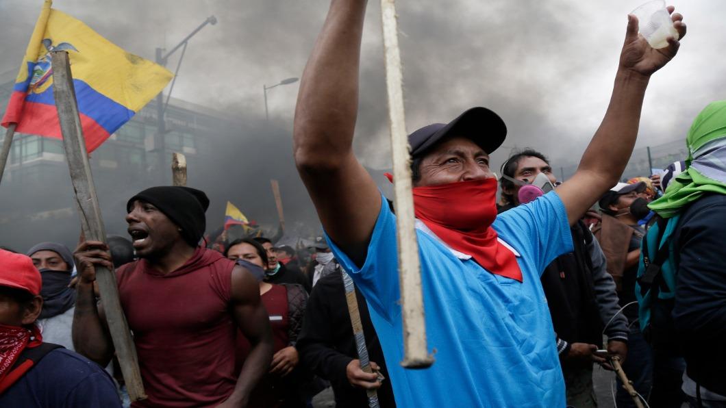 圖/達志影像美聯社 不要勒緊褲帶!厄瓜多人抗議逾一星期