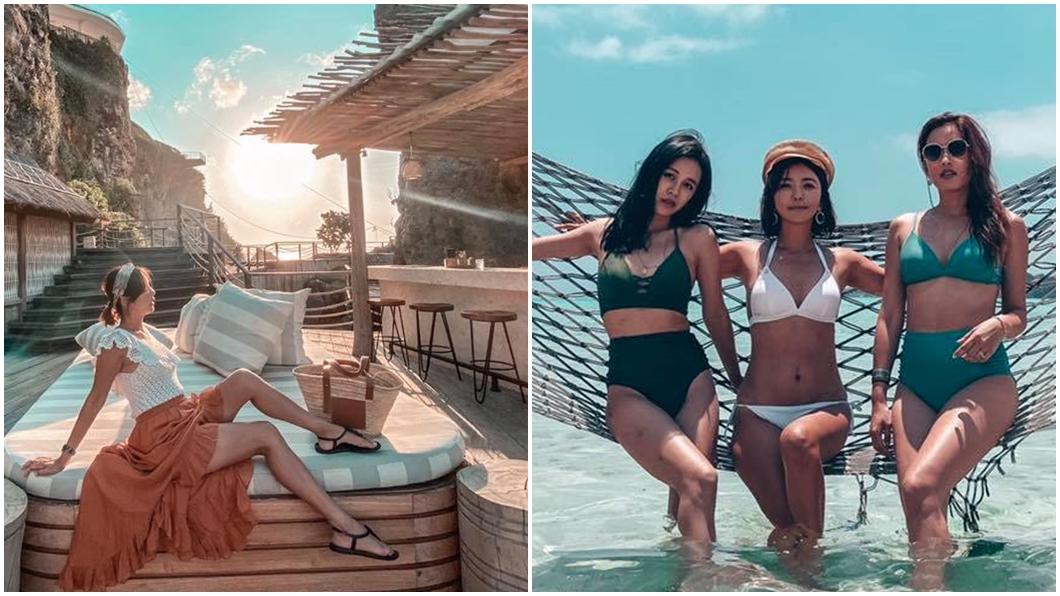 芳瑜與好姊妹Lydia及筱蕾飛去峇里島玩。圖/翻攝自芳瑜臉書