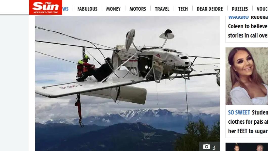 圖/翻攝自The Sun官網 驚險生還!飛機卡纜線駕駛被甩出 乘客坐機翼等救援
