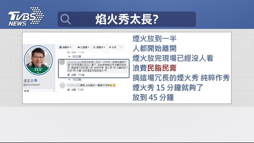 圖/TVBS 太冗長?煙火炸42分 潘孟安臉書湧正反評價