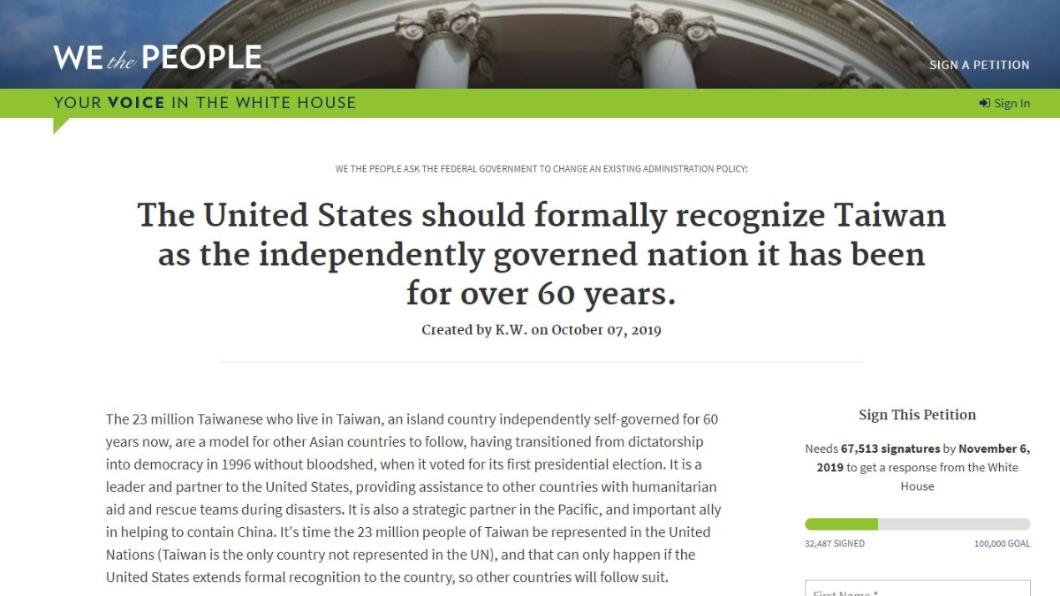 圖/翻攝自白宮請願官網 網友向白宮請願「承認台灣是國家」 5天破3萬人連署