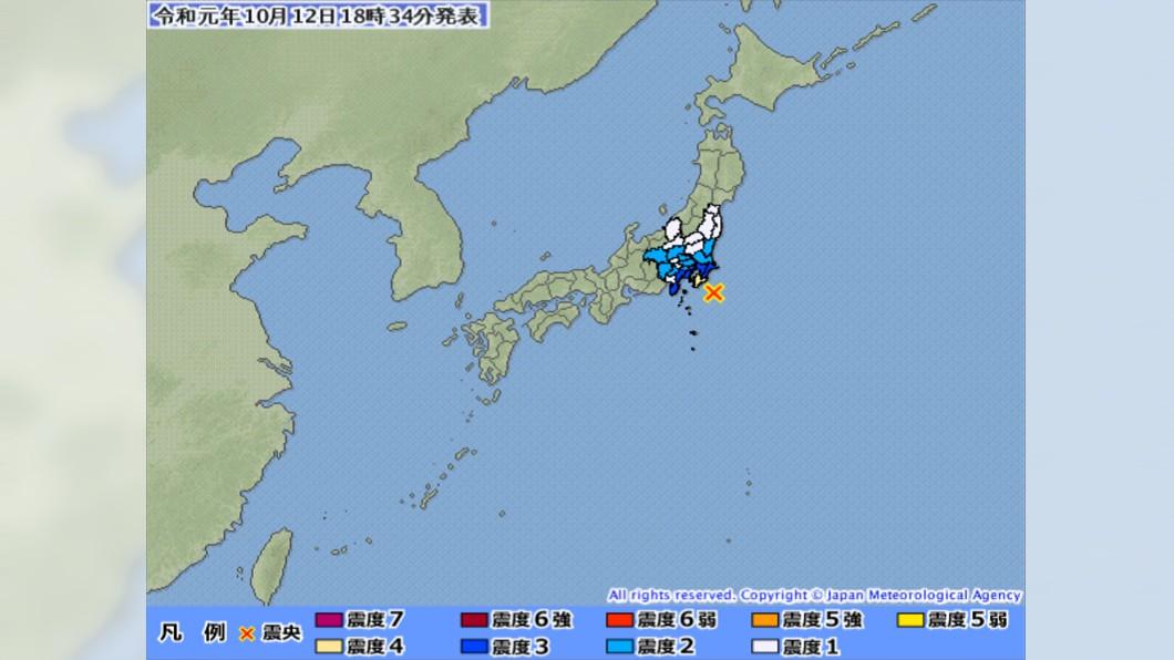 圖/翻攝日本氣象廳 最強颱侵襲+地牛翻身 日本千葉地震規模5.7