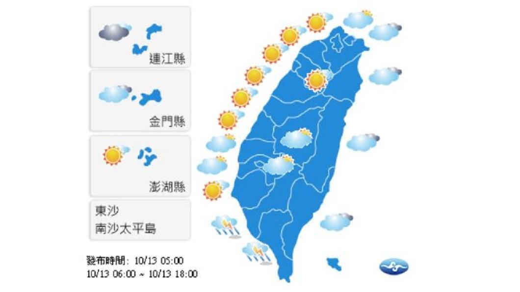 圖/中央氣象局 各地多雲時晴 南部偶有午後雷陣雨