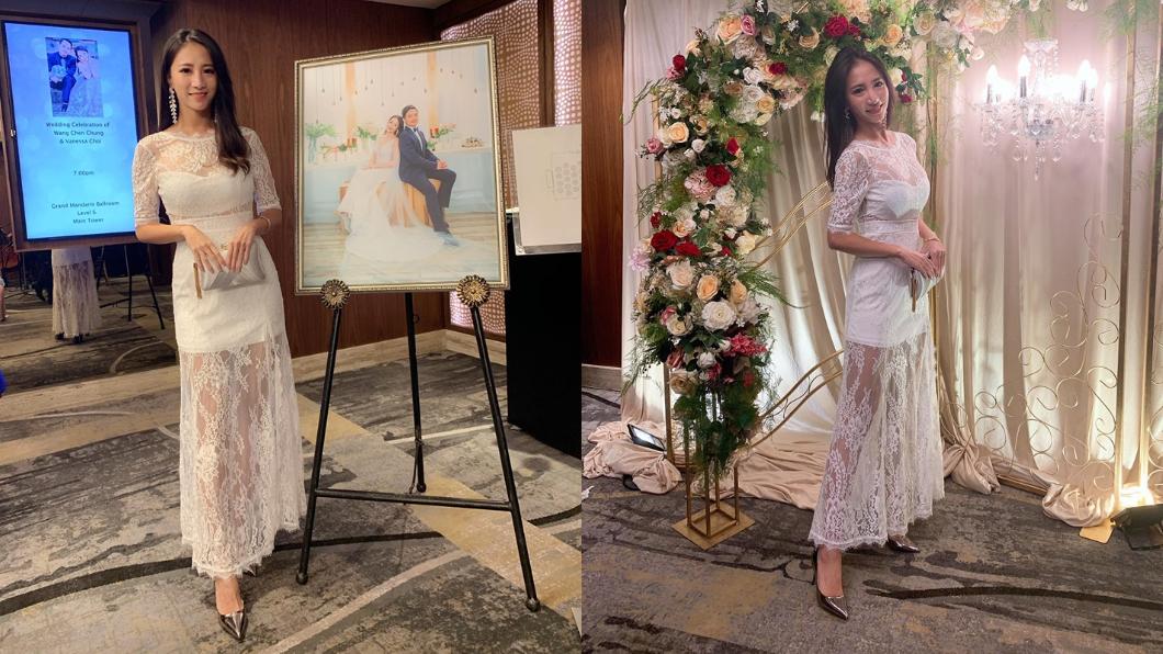 林采緹身穿仙氣蕾絲裙。圖/翻攝自林采緹 Sunny Lin臉書