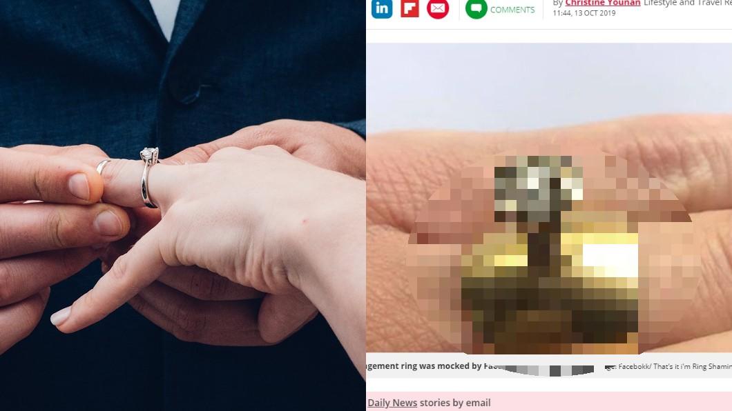 左圖/TVBS示意圖。右圖/翻攝自每日星報(Daily Star) 女喜曬祖傳鑽戒 網吐槽「像門把」:史上最醜