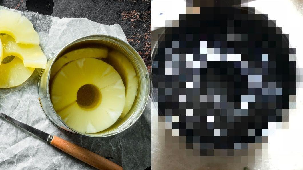 有網友在家中發現過期5年的鳳梨罐頭。圖/翻攝自推特nnsmr1781 過期5年!鳳梨罐頭「內容」超驚悚 黑到像輪胎嚇壞人