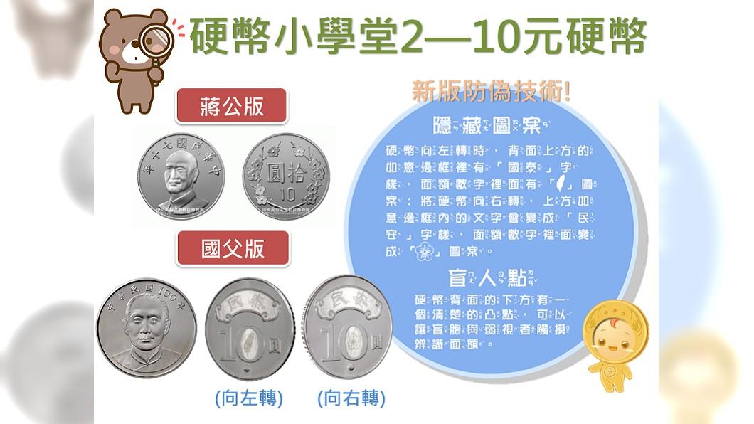 圖/翻攝自央行臉書粉絲團 央行小學堂開講 新版10元硬幣有「隱藏圖案」