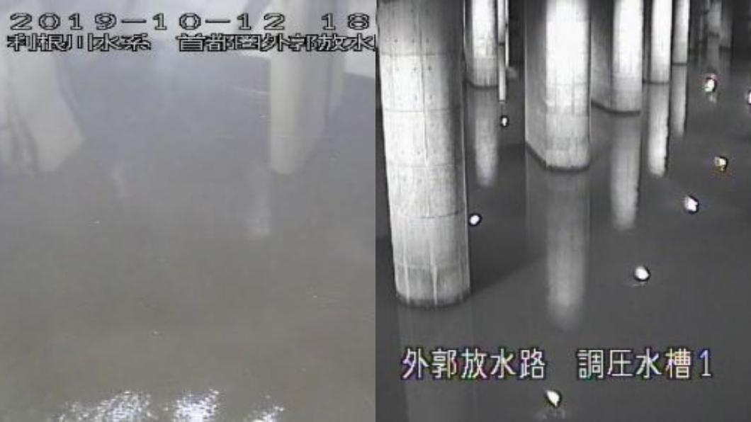地下神殿防洪設施於12日晚間6時左右,引入水量情況。圖/翻攝自日本國土交通省關東地方整備局官網 哈吉貝暴雨洪災!日啟動「地下神殿」 3天排1千萬噸水
