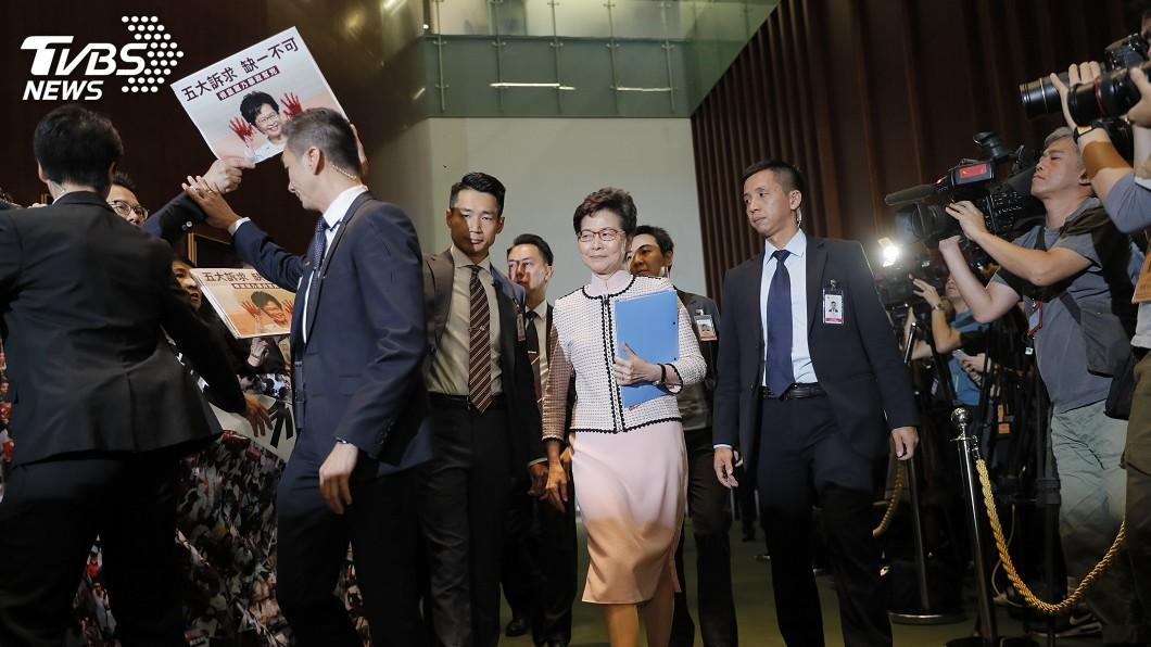 圖/達志影像美聯社 港特首林鄭發表施政報告 重點解決房屋問題