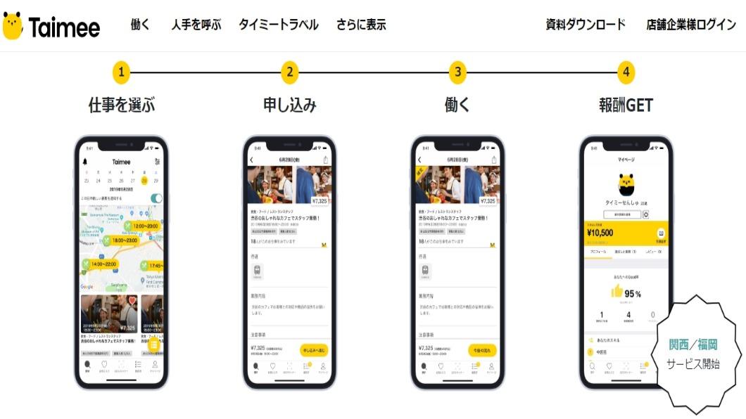 圖/翻攝自 タイミー(Taimee, Inc.) 免面試即上工!日本人力App憑星等求職